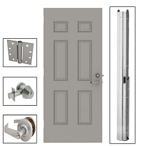 6-Panel Gray Right-Hand Security Door Unit with Knockdown Frame