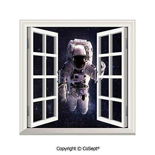 SCOXIXI Removable Wall Sticker,Astronaut in Outer Space Stardust Nebula in Milky Way Cosmonaut Apollo Art,Window Sticker Can Decorate A Room(25.86x22.63 inch) ()
