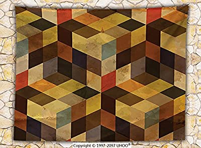 Modern Decor Fleece Throw Blanket Geometric Shaped Lines Squares Chevron Graphic Art Print Throw Apricot Cocoa Brown Dark Orange