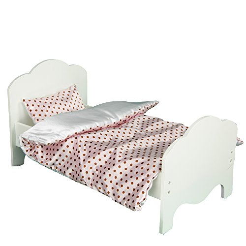 Olivia's Little World Princess Classic Single Bed + 2 Bedding (Modern Chevron / Polka Dots) | Wooden 18 inch Doll Furniture
