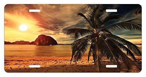 Ocean License Plate by Ambesonne, Havana Beach Sunny Tropics Mountains Rocks and Coconut Palm Trees, High Gloss Aluminum Novelty Plate, 5.88 L X 11.88 W Inches, Orange Pale Brown Dark - Boyfriend Brown Havana