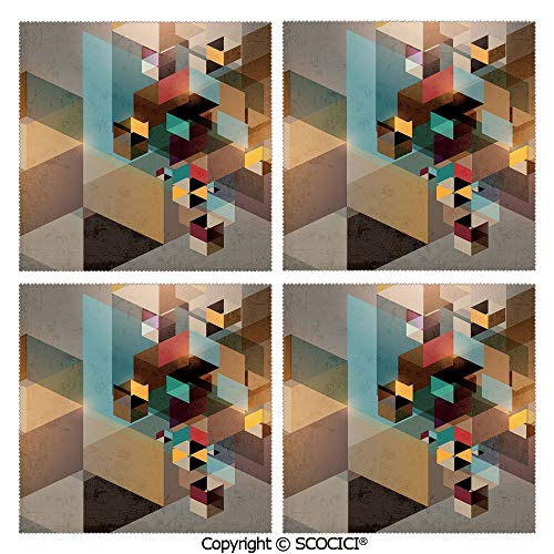 SCOCICI Set of 4 Washable Fabric Placemats Outdoor Table Placemats Colorful Structure in Pieces Modern Dynamic Graphic Design Industrial Artistic Place Mats for Kitchen Table Ourdoor Party from SCOCICI