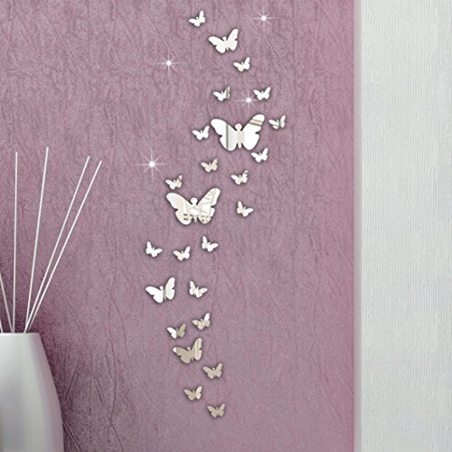 Border Stick On - XUANOU 30PC Butterfly 3D Stickers Plastic Mirror Wall Stickers DIY Combination Home Decoration