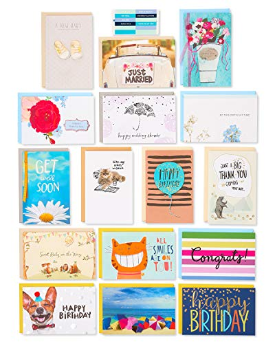 American Greeting Cards - American Greetings Premium Multi-Occasion Greeting Cards Set with Organizer (Pack of 16) - Birthday, Baby, Wedding, Sympathy, Thinking of You, Thank You, Get Well, Congratulations, Blank Assortment