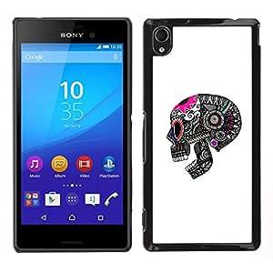 """For Sony Xperia M4 Aqua Case , Modelo del cráneo Muerte Gris Rosa Blanco"""" - Diseño Patrón Teléfono Caso Cubierta Case Bumper Duro Protección Case Cover Funda"""