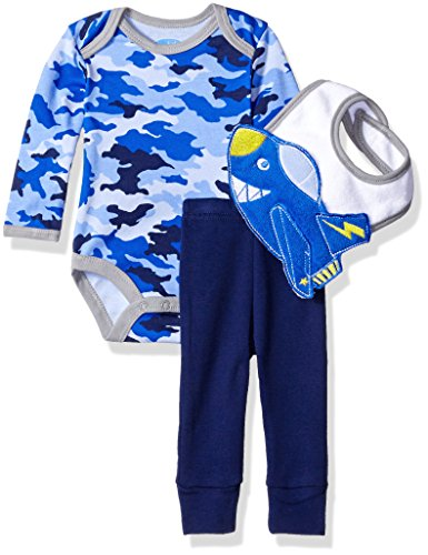 BON BEBE Boys' 3 Piece Pant Set with 3d Bib and Bodysuit, Camo Blue Jet, 0-3 Months