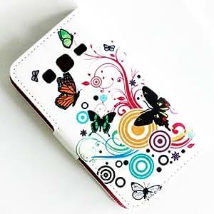 CHSH Monedero Funda de Cuero cáscara con cierre magnético tarjeta efectivo espacio y soporte Cover para Samsung Galaxy Express 2 G3815 flor mariposa NO.22