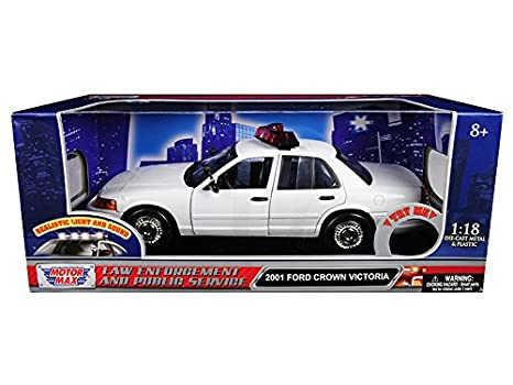 Amazon motormax 73991 2001 ford crown victoria police car plain motormax 73991 2001 ford crown victoria police car plain white with flashing light bar front aloadofball Gallery