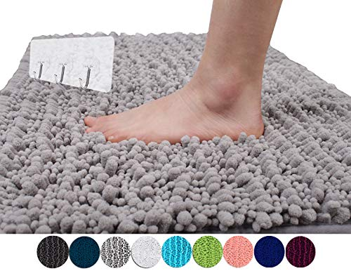 Yimobra Original Luxury Shaggy Bath Mat Large Size 31.5 X 19.8 Inch Super Absorbent Water,Non-Slip,Machine-Washable,Soft and Cozy,Thick Modern for Bathroom,Bedroom,Floor,Gray (Presented 3 Pack Hooks)