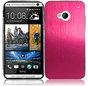 For HTC One M7 Metal Cover Case Hot Pink Accessory
