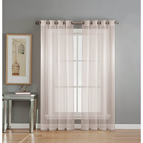 Window Elements Sheer Elegance Grommet 108 x 84  in. Curtain Panel Pair, White (Window Treatment Ideas)