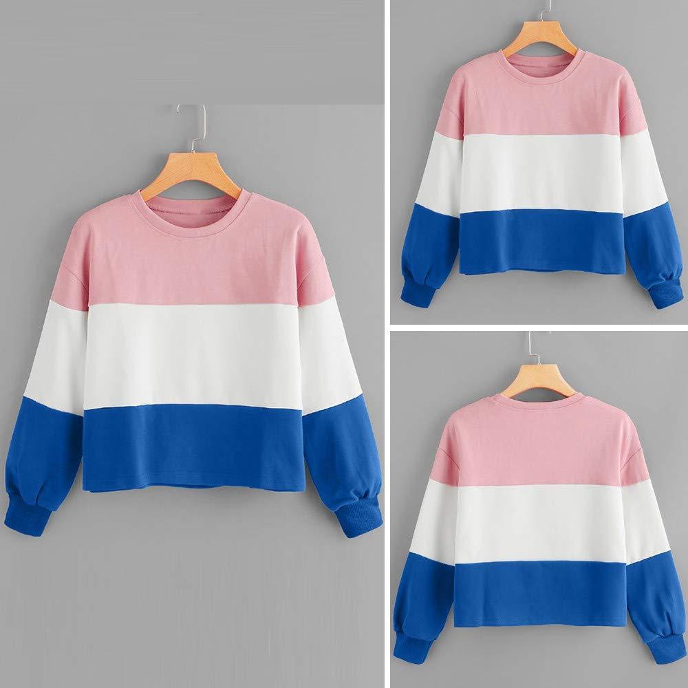 LEEDY Remiendo de Manga Larga de Mujer Pullover Raya Suéter de Fondo Blusa Top: Amazon.es: Ropa y accesorios