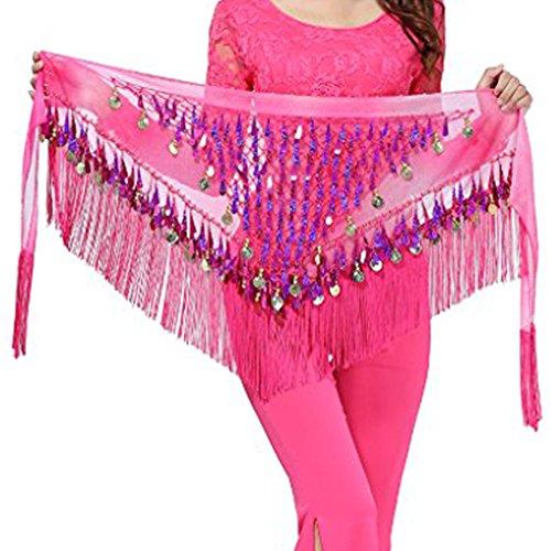 g Belt Colorful Waist Chain Belly Dance Hip Scarf Belt Triangle Skirt (Dark pink) (Tribal Belly Dancing)