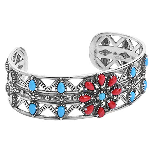 (American West Sterling Silver Blue Turquoise and Red Coral Gemstone Flower Cuff Bracelet Size Medium)