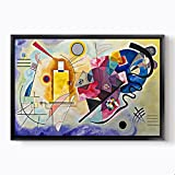 "PlusCanvas - Yellow Red and Blue 1925 - Wassily Kandinsky - 120 x 80cm (48"" x 32"") Black Framed Print"