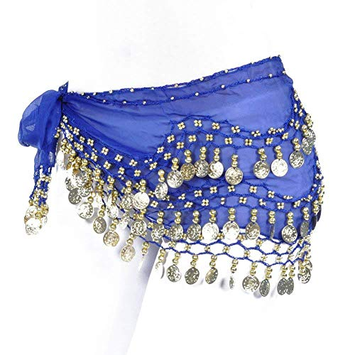 REINDEAR Vogue Style Chiffon Dangling Gold Coins Belly Dance Hip Scarf US Seller (Royal Blue) ()