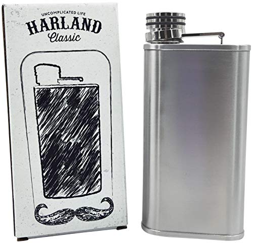 Harland 8 oz Leak proof Slim Hip Flask Classic Style Food Grade Engravable Stainless Steel Silver Perfect Thermos for Bourbon, Whiskey, Liquor. Best Men Camping, backpacking, hiking (Timeless) ()