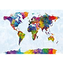 "Watercolor World Map Poster Michael Tompsett (55""x39"")"
