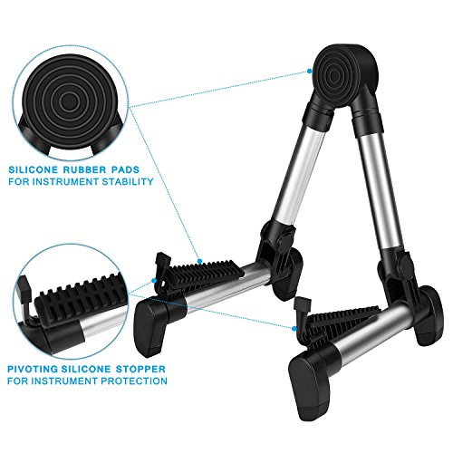 Flexzion Guitar Stand Folding Adjustable A-Frame Floor Portable Instrument Stand Rack Holder for Acoustic Electric Classical Guitar and Bass, Violin, Ukulele, Banjo, Mandolin Portable Lightweight by Flexzion (Image #3)