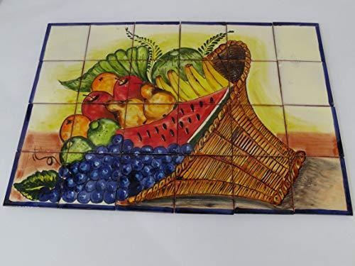 - TALAVERA MOSAIC MURAL fruit basket, colorful talavera tile backsplash wall deco