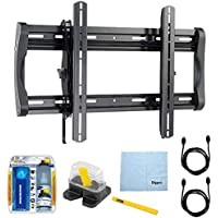 Sanus Low Profile Flat Wall Mount for 37 - 90 flat-panel TVs (LL22-B1) with TV/LCD Screen Cleaning Kit, Magnetic Stud Finder, Carpenter Pencil, Microfiber Cleaning Cloth & 2x HDMI to HDMI Cable