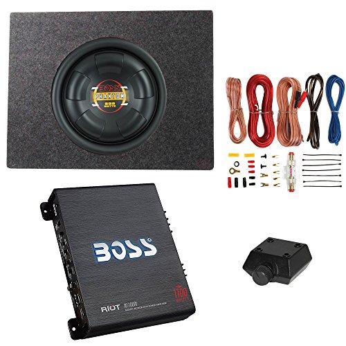 """Boss 10"""" 600W Subwoofer & Q Power Truck Enclosure & Boss 1100W A/B Amplifier"""