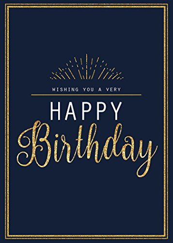 Birthday Greeting Cards - B1703. Business Greeting Card Featuring a Birthday Message With a Golden and Navy Design. Box Set Has 25 Greeting Cards and 26 Bright White Envelopes.