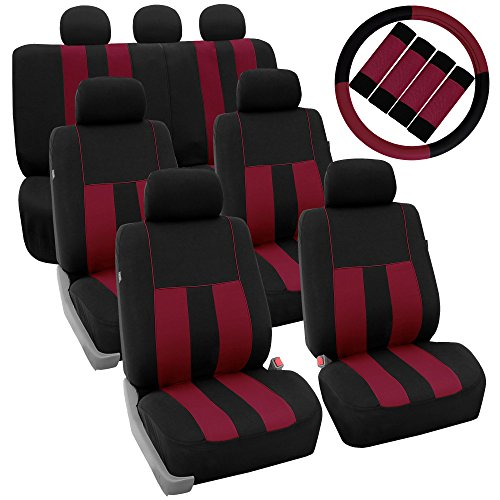 FH Group FH-FB036217 + FH2033 Three Row Combo Set: Striking Striped Seat Covers Burgundy/Black Color- Fit Most Car, Truck, SUV, or Van