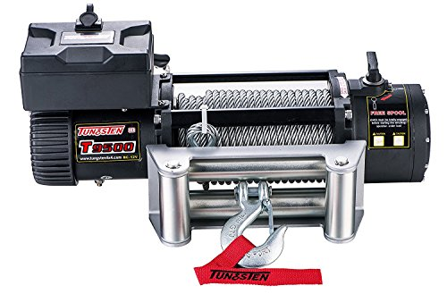 12v Chrome Electric Winch - Tungsten4x4 T9500 Electric Winch 9500 lbs Load Capacity Waterproof IP67 with Wire Rope, Roller Hawse and WirelessRemote