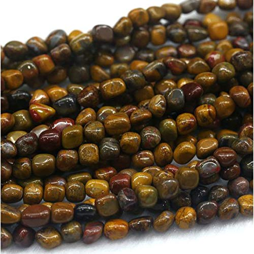 GemAbyss Beads Gemstone 1 Strands Natural Yellow Rainbow Petrified Wood Jasper Nugget Free Form Loose Beads Fit Jewelry 15 Inch Long 5x7mm 03979 -