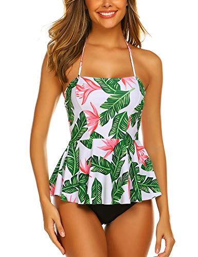 ADOME Women's Printed Tankini Set Ruffled Swmsuits Highwaist Tummy Control Swimwear White XX-Large