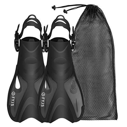 F FYJS Snorkel Swim Fins,Adjustable Travel Size Short Snorkeling Flippers with Mesh Bag for Diving Swimming Adult Men -