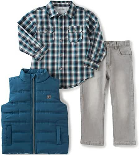Calvin Klein Baby Boys' Shirt, Vest and Jean Pants Set