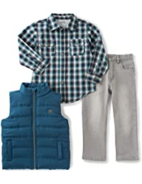 Calvin Klein Boys' Shirt, Vest and Jean Pants Set