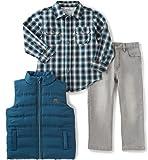 Calvin Klein Baby Boys' Shirt, Vest and Jean Pants Set, Blue, 12 Months