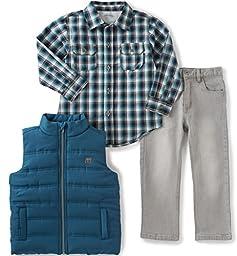 Calvin Klein Little Boys\' Toddler Shirt, Vest and Jeans Pants Set, Blue, 3T