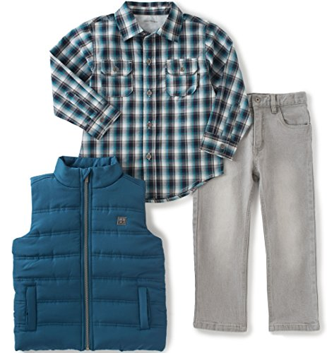 Calvin Klein Little Boys' Toddler Shirt, Vest and Jeans Pants Set, Blue, 4T