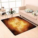 Nalahome Custom carpet orror House Decor Demon Trap Symbol Logo Ceremony Creepy Ritual Fantasy Paranormal Design Orange area rugs for Living Dining Room Bedroom Hallway Office Carpet (36''x60'')