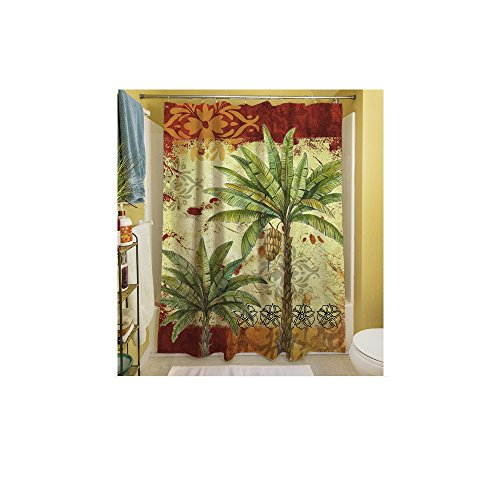 1 Piece Red Tropical Themed Shower Curtain, Palm Tree Hawaiian Bathroom Pattern, Palms Graphic Hawaii Style Polyester Floral, Beach Ocean Sea Caribbean Red Gold Green Yellow Multi by D&H