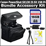 16GB Bundle For Canon PowerShot SX130 IS SX130IS SX150 IS SX150IS Digital Camera Includes 16GB High Speed SD Memory card + USB 2.0 High Speed Card Reader + Deluxe Carrying Case + Mini Tripod + Clear LCD Screen Protectors + More