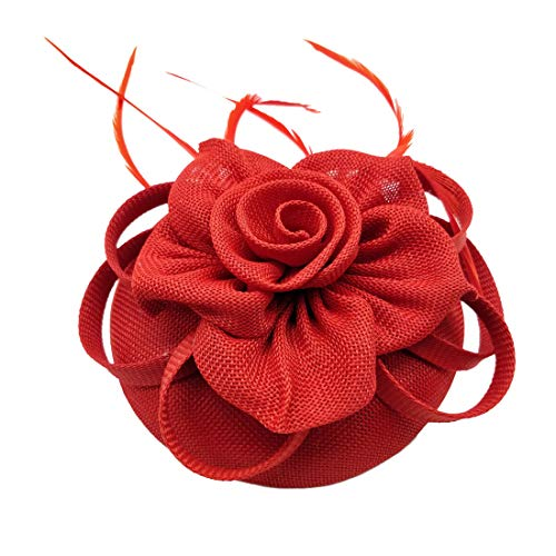 Fascinator Sinamay Rose Flower Pillbox hat Headband Tea Party Kentucky Derby (G Red) ()