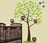 6ft Tree with 4 Owls, Butterflies, Grass and Flowers Wall Decal Art Sticker Kids Mural