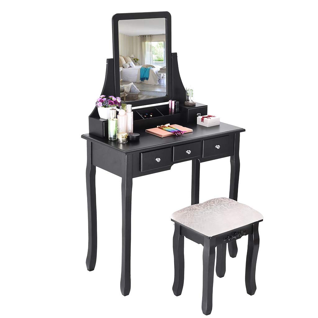 TADAMI Dressing Table, Vanity Set with Mirror & Cushioned Stool Vanity Makeup Table Dividers Movable Organizers (Black)