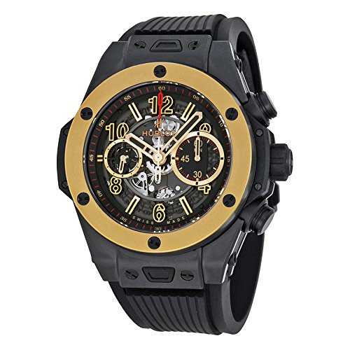 Hublot Big Bang Unico Magic Automatic Gold Skeleton Dial Black Rubber Mens Watch 411CM1138RX