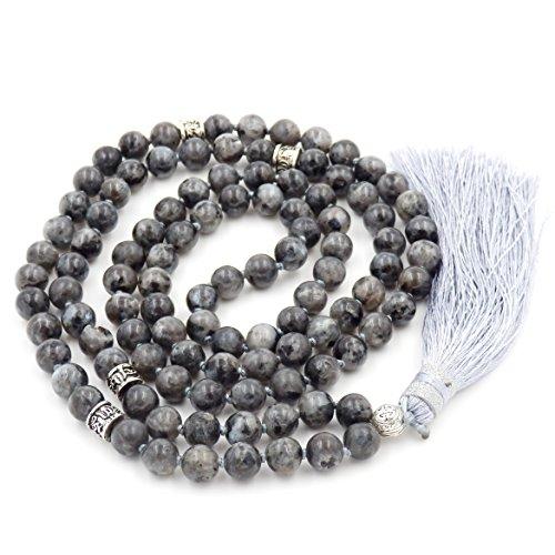 (Gemstone Mala Beads Necklace, Mala Bracelet, Buddha Necklace, Hand Knotted Mala (Black Labradorite))