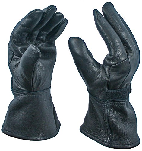 Black Gauntlet Deerskin Motorcycle Glove with Thinsulate Lining, size XXX-Large -
