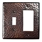 The Copper Factory CF125AN Solid Hammered Copper Single Switch and GFCI Combination Plate, Antique Copper Finish