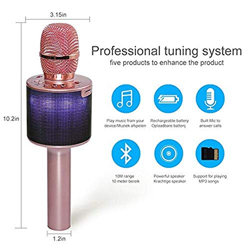 Xiuzhifuxie Wireless Bluetooth Microphone Karaoke for Party, KTV,Home,Speaker, for PC/Phone, Android/iOS Wireless Bluetooth Karaoke Microphone (Color : Rose Gold) by Xiuzhifuxie (Image #2)