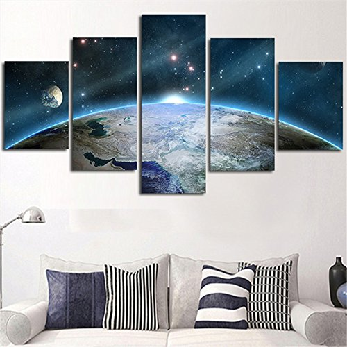 [Medium] Premium Quality Canvas Printed Wall Art Poster 5 Pieces / 5 Pannel Wall Decor Sunrise The Earth Painting, Home Decor Pictures - With Wooden Frame