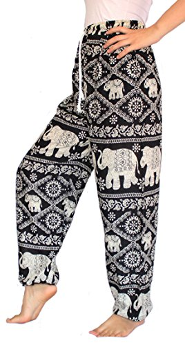 Banjamath? Women's Smocked Waist Harem Hippie Boho Yoga Palazzo Casual Pants (S, Black with drawstring waist)